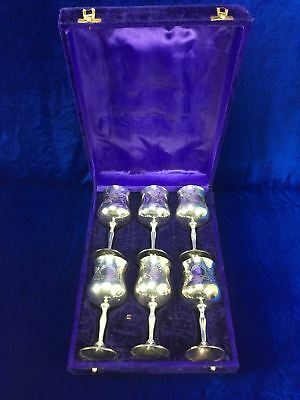 6 X Boxed Vintage Etched Silver Plate Wine Goblet Cup Polished Chalice Glasses