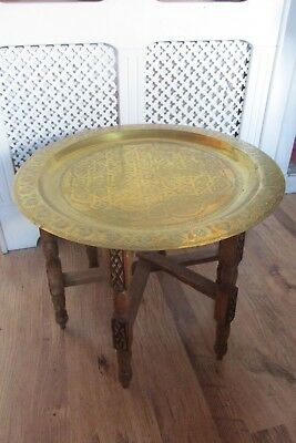 Antique Indian Rosewood Carved Folding Table With Brass Tray