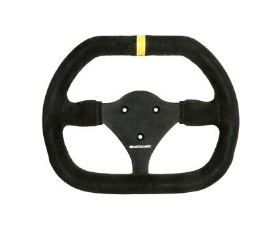 Motamec Formula Race Steering Wheel Small Double D 270mm Black Suede Black Spoke