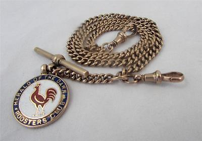 Antique Heavy 9ct Rose Gold 1920s Antique Albert Watch Chain stamped Every Link