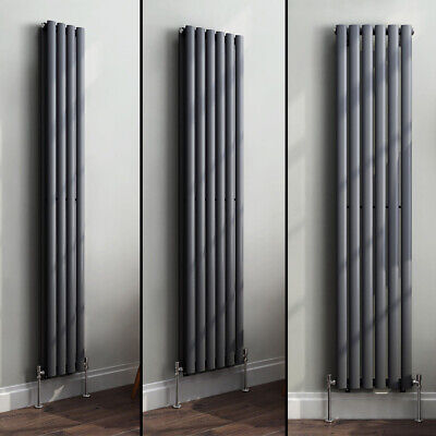 Designer Vertical Oval Column Tall Upright Central Heating Radiator Anthracite