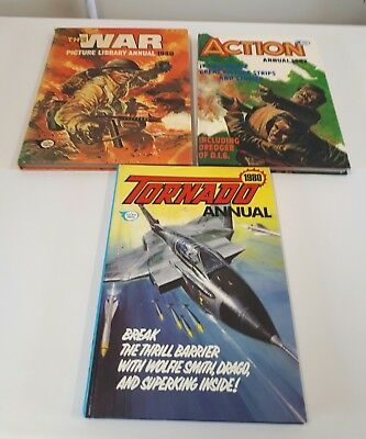 3 X Annuals The War 1980 , Tornado 1980 , Action 1982 Good Condition