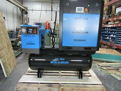 Air-Max  15hp. (NEW) Industrial Rotary Screw Compressor W/dryer/filters/120 tank