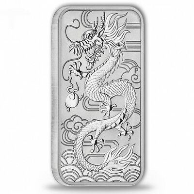 silver coin bar rectangular coin Perth Mint Dragon minted silver bar 1oz 9999