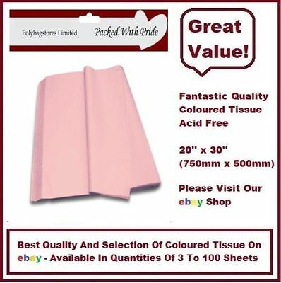 PACK OF 3 -  PALE PINK QUALITY COLOURED TISSUE PAPER ACID FREE 750mm x 500mm
