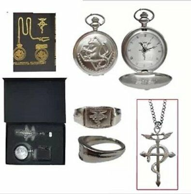 Fullmetal Alchemist pocket watch necklace ring three-piece set boxed