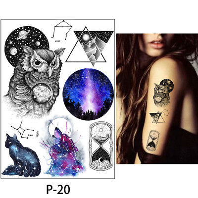 Temporary Tattoos Owl Cat Wolf Sand Timer Space StarWizard Halloween for adults