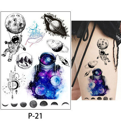 Temporary Tattoos Moon Space Astronaut Space Saturn SCIFI Halloween for adults