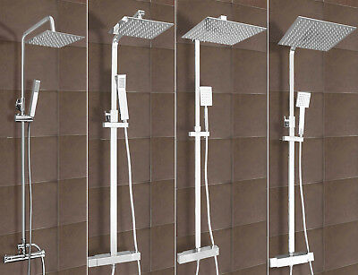 Twin Head Square Exposed Thermostatic Bathroom Shower Mixer Chrome Valve Set
