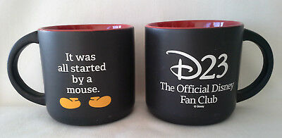 Disney D23 The Official Fan Club Mugs Set of Two Black Red Interior