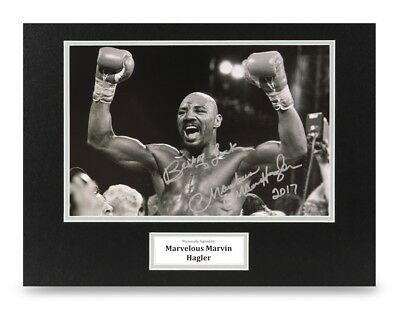 Marvelous Marvin Hagler Signed 16x12 Photo Display Boxing Autograph Memorabilia