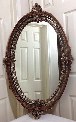 "Large Vintage Gorgeous Art Gold Brown Oval Wall Mirror 43"" Tall x 28"" Wide"