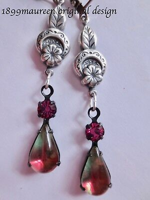 Art Nouveau Art Deco earrings dramatic Edwardian vintage style cerise green
