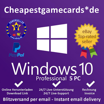 MS Windows 7/8.1/10 Home/Pro/Ultimate OEM 1/2/3/5 PC produkt key per email