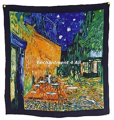 "100% Silk Twill Scarf 22""x22"" Handrolled w Van Gogh ""Cafe Terrace at Night"" 1888"