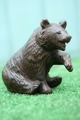 SUPERB 19thC BLACK FOREST WOODEN OAK CARVED SEATED BEAR WITH NAIL EYES c1880s