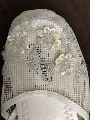 Womens Chinese Mesh Floral Beaded Sequined Slipper Flip Flop Sandals size 10