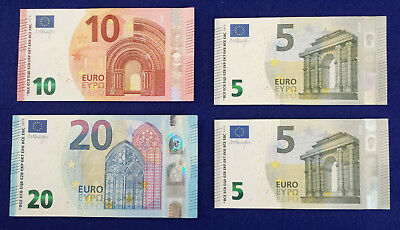 *Lot of 4 New Design Euro Bills Currency Banknotes Paper Money(Total 40 Euro)*