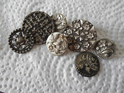 Antique/vintage 7 Early Pewter Buttons #726