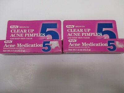2 Rugby Acne Medication 5, Benzoyle Peroxide 5%  1.5 Oz Each Exp: 6/18 Aa 9426