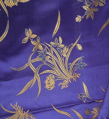 Vintage Chinese Silk Fabric -Blue & Gold -Floral