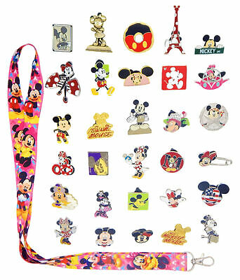 Mickey & Minnie Themed Starter Lanyard Set with 6 Disney Trading Pins ~ NEW