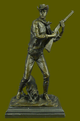 Art Deco Western Artwork Cowboy Sheriff  with Faithful Dog Genuine Bronze Figure