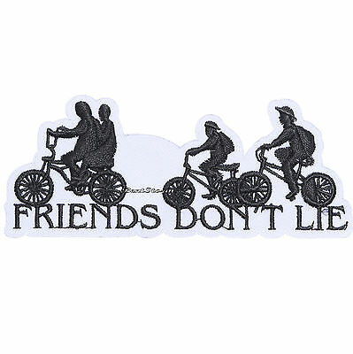 """Licensed Netflix Stranger Things """"Friends Don't Lie"""" Bikes IRON ON Patch Badge"""