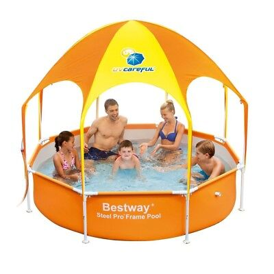 "Bestway 8' x 20"" Splash in Shade Kids Spray Play Swimming Pool with UV Canopy"