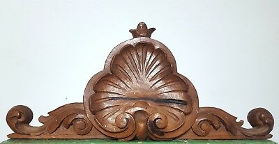 HAND CARVED WOOD PEDIMENT ANTIQUE FRENCH ARCHITECTURAL SALVAGE CROWN CREST 19 th