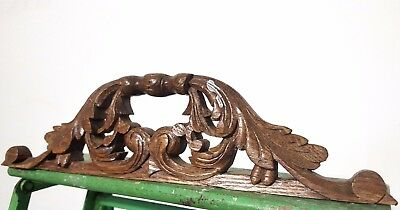 HAND CARVED WOOD PEDIMENT ANTIQUE FRENCH GOTHIC ARCHITECTURAL SALVAGE CREST 19th