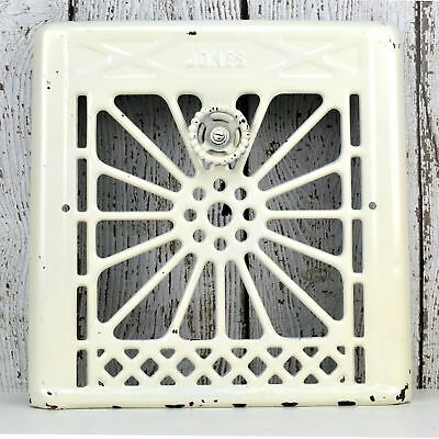 Antique Ornate Heat Register Wall Vent Cover Jones Off White Metal for Victorian