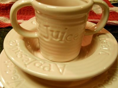 1950's  LITTLE GIRL'S  REAL PLACE SETTING PINK CERAMIC CUP, BOWL, PLATE