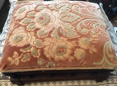 Antique Upholstered Victorian Mahogany Footstool 31cm L x 26cm W x 18cm H