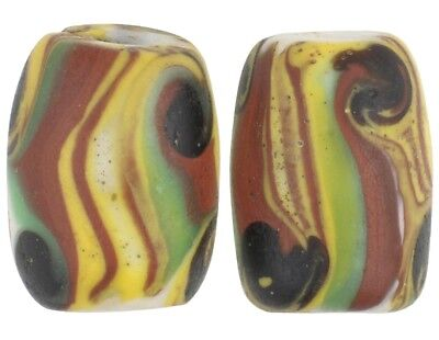 African trade beads oval Fancy old Venetian glass beads lampwork wound rare