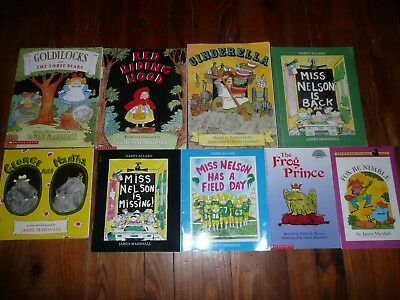 Lot of 9 JAMES MARSHALL Childrens Picture Books CINDERELLA Frog Prince STUPIDS