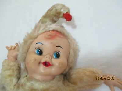 Vintage Rubber Face Plush Kewpie Doll>Retro 1950's 60's>Pixie Style>Pre Owned>