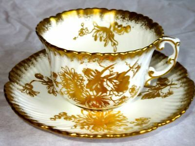 Hammersley & Co Stunning Gold Chrysanthemums #5030 White Bone China Cup & Saucer
