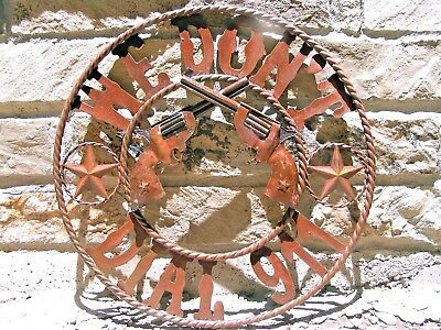 Plasma Metal Art Iron Cutout We Don't Dial 911 crossed pistol Sign 22 inches
