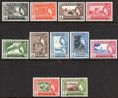 1957 MALAYSIA PENANG QUEEN ELIZABETH PICTORIALS DEFINITIVES SG44-54 m/unhinged