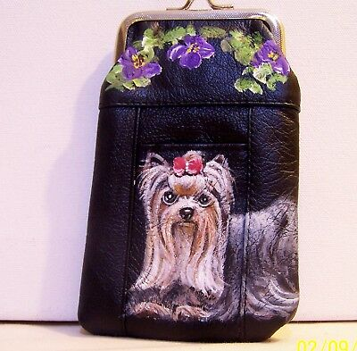 hand painted Yorkshire Terrier dog portrait genuine leather cigarette case