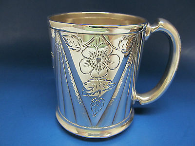 Antique 1850-1899 Silver Plate CUP / MUG Derby Silver Co.Hand Engraved No Mono