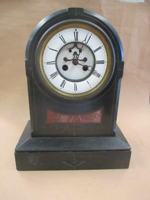 Mantle clock, French marble, L. Martini, spares or repairs, antique