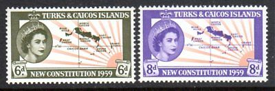 1959 TURKS & CAICOS ISLANDS NEW CONSTITUTION SG251-252 mint vlh, mint unhinged
