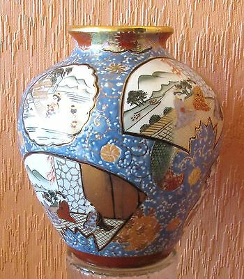 Macau Large Hand-painted Rotund Vase with Seven Rustic Scenes of Leisure.