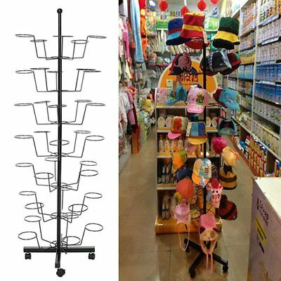 Leoneva 7 Tier 35 Hat Floor Display Hat Rack Rotating Adjustable Metal Stand Cap