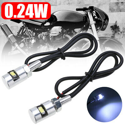 2Pcs Chrome Car Moto 12V White SMD LED License Plate Screw Bolt Light Bulb Lamp