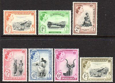 1956 SWAZILAND QEII PICTORIALS part set 7 stamps SG53-59 mint very light hinged