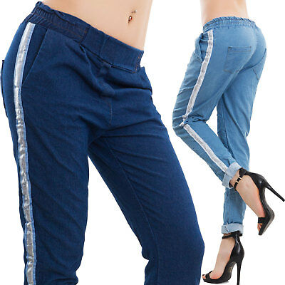 Women's trousers casual riga silver plated relaxed effect jeans sexy new AS-311