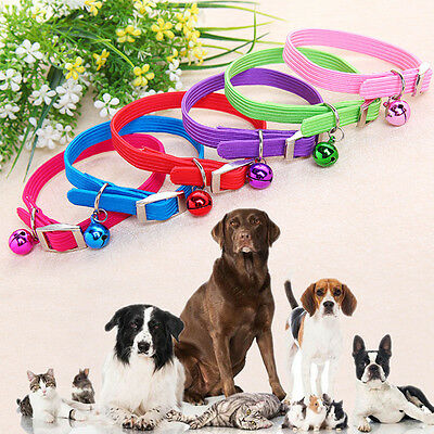 Pet Dog Puppy Cat Kitten Soft Adjustable Collar Strap Safety Buckle with Bell AU